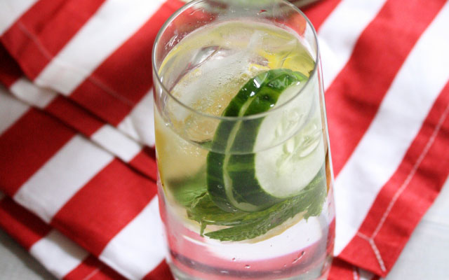 Lemon water, cucumber, mint